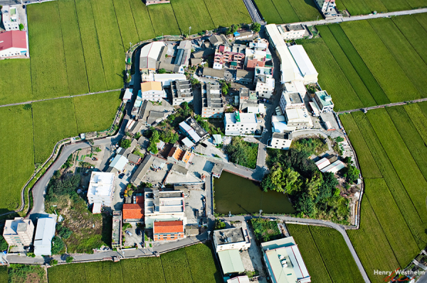 Aerial view of a countryside village, Taiwan
