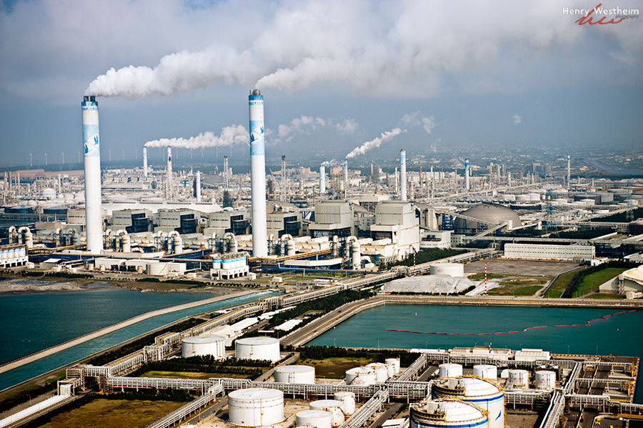 Aerial view of factories and smokestacks, Taiwan