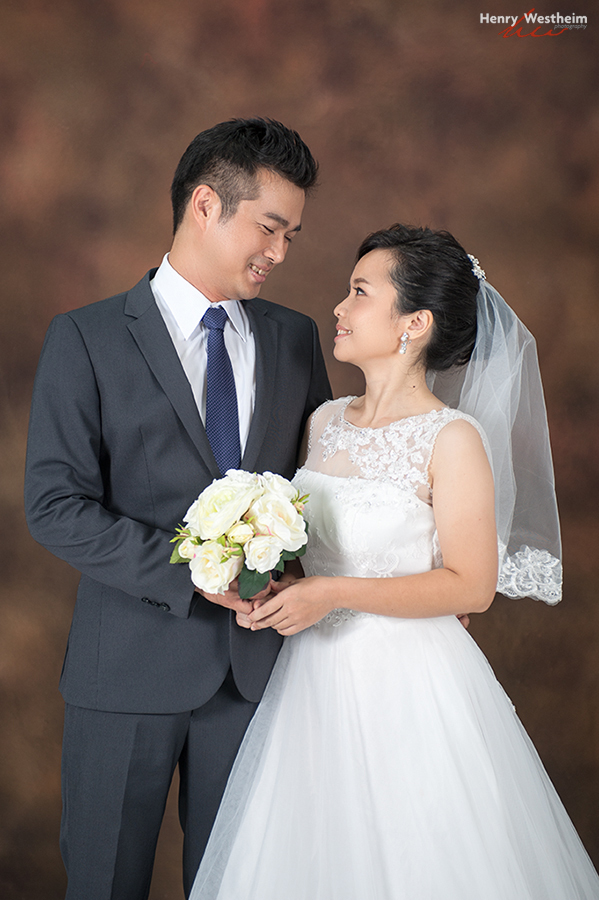 Asian bride and groom wedding portrait studio