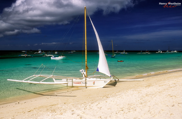Philippines Boracay Outrigger Sail Boat On Beach