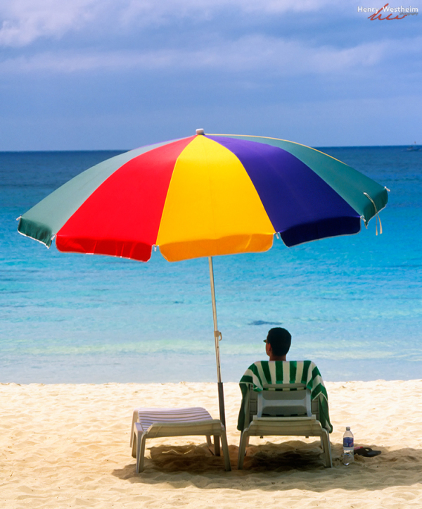 Philippines Boracay Man Under Beach Umbrella
