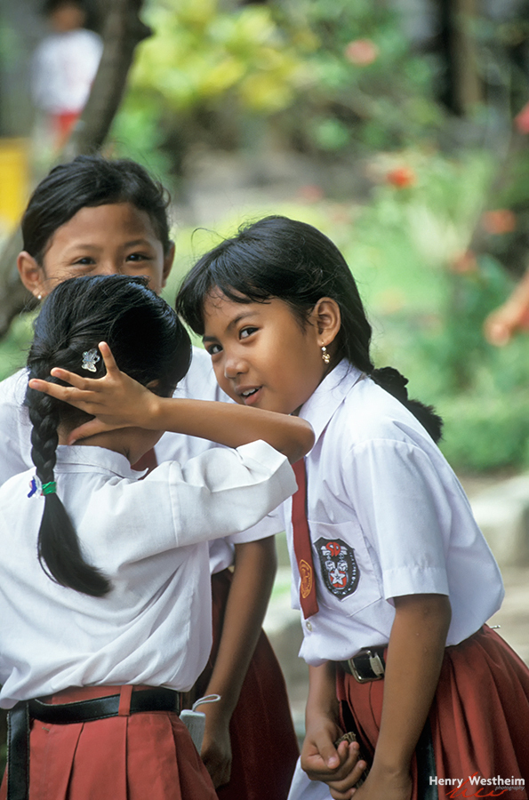 School Girls Telling Secrets, Bali, Indonesia
