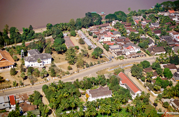Laos, Aerial view of Luang Prabang