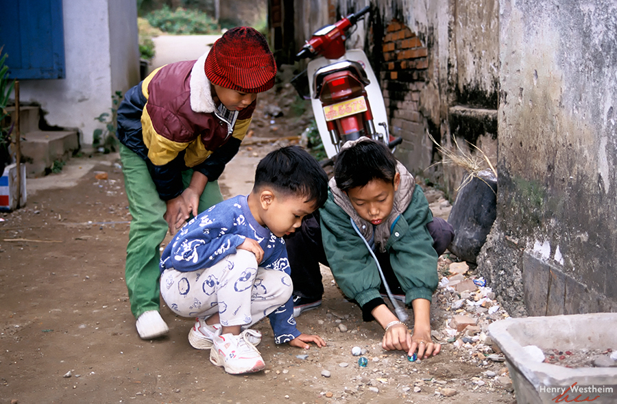 Laos, Boys Playing Marbles, Luang Prabang