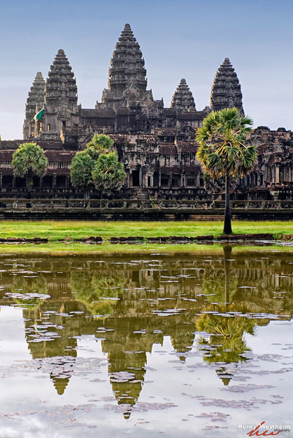 Cambodia, Angkor Wat Reflection In Pond, Siem Reap