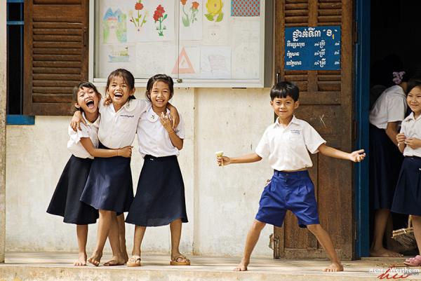 Cambodia, School Children Having Fun