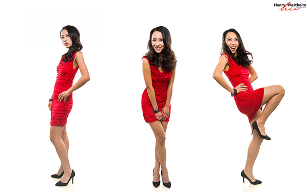Young Asian woman in a red dress
