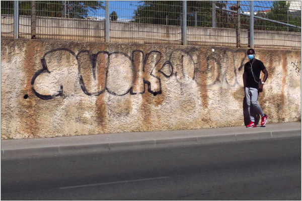 Mur grilles et masque