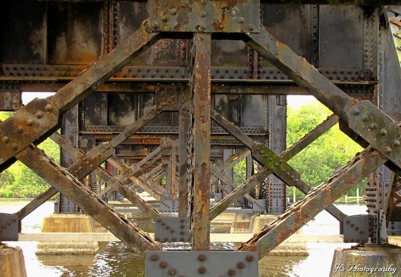 Looking under the railroad trestle