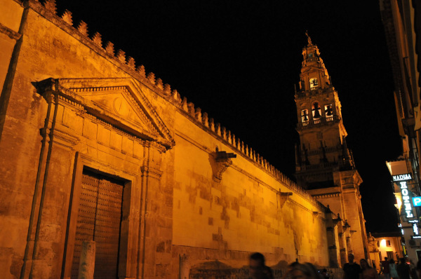 northern wall of the Mezquita by night in Cordoba