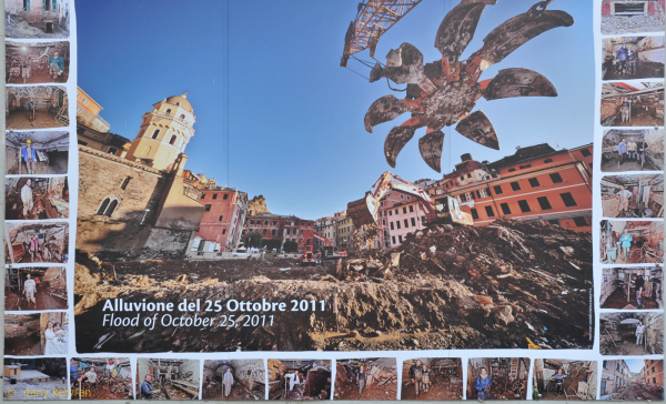 poster showing photos of flood in Vernazza 10-2011