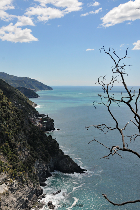 view towards Vernazza and the coast