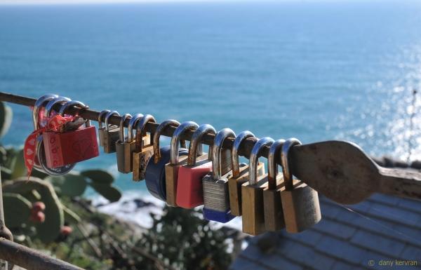 padlocks left  on a footpath in loving memory