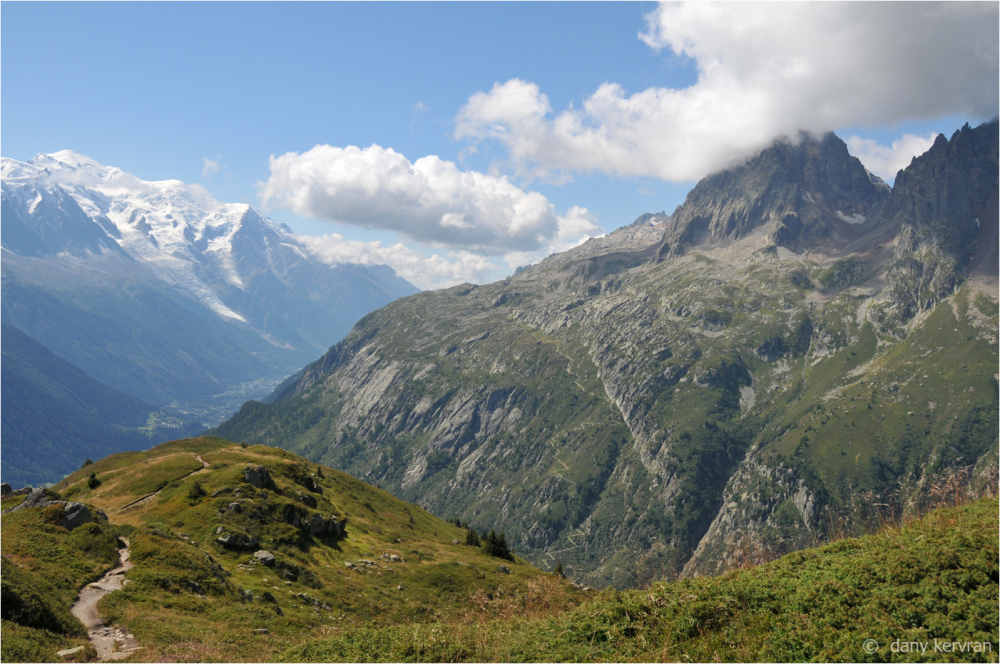 Mont Blanc and massif of Aiguilles rouges