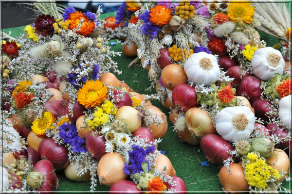 decorated onions at a market in Bern