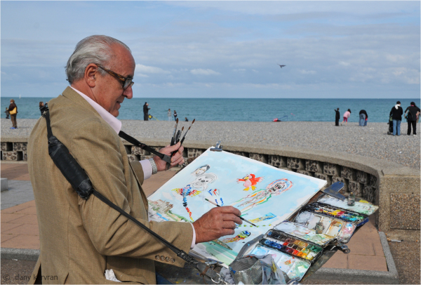 the painter Joël Blanc at Dieppe (France)