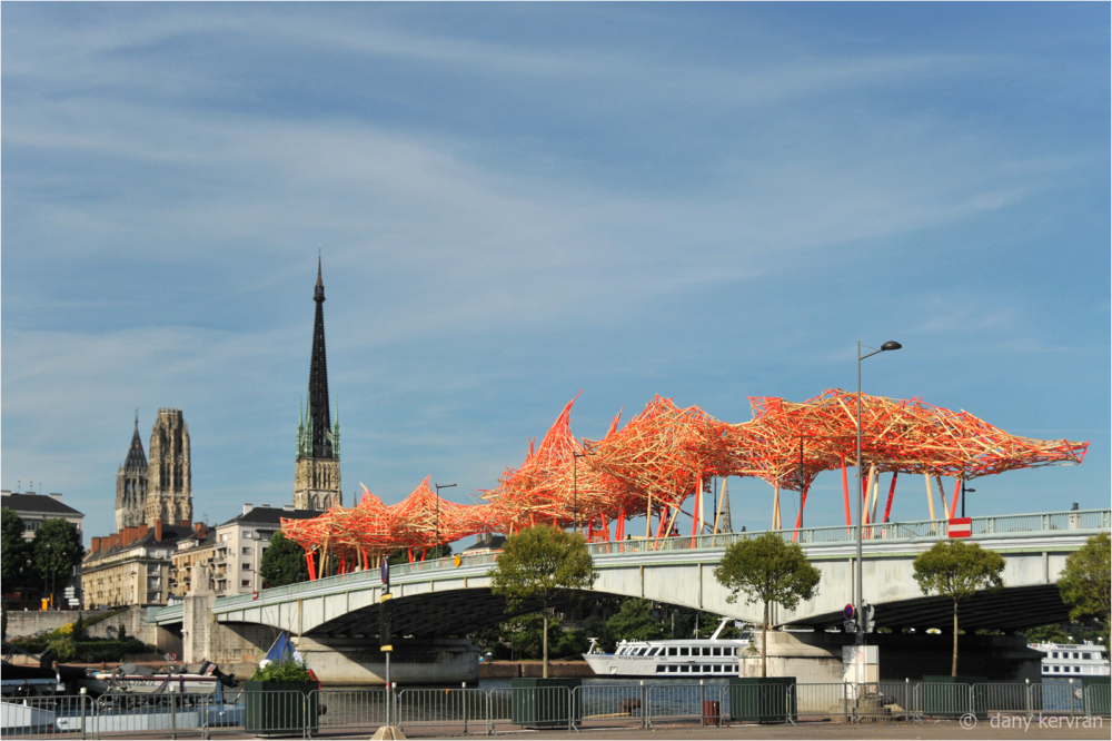 view of Rouen and the sculpture Camille