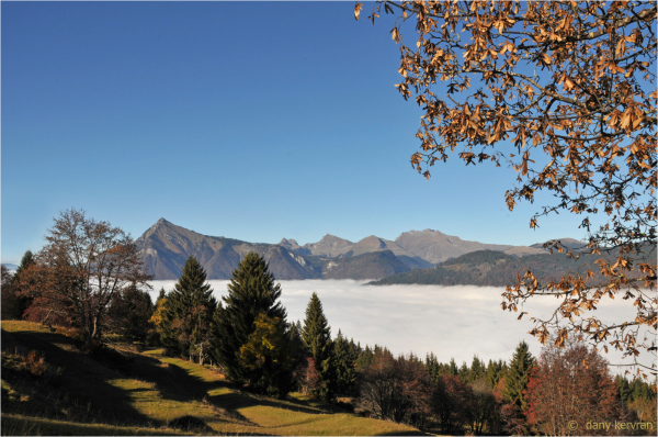 fog in Giffre valley (Haute-Savoie, France)