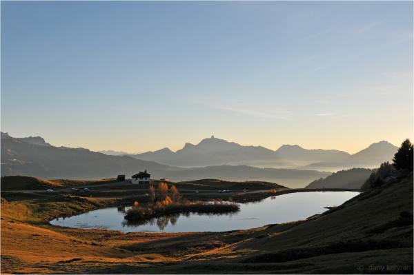 Joux Plane lake in autumn