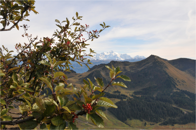 wiew of Mont Blanc massif from Haute-Pointe