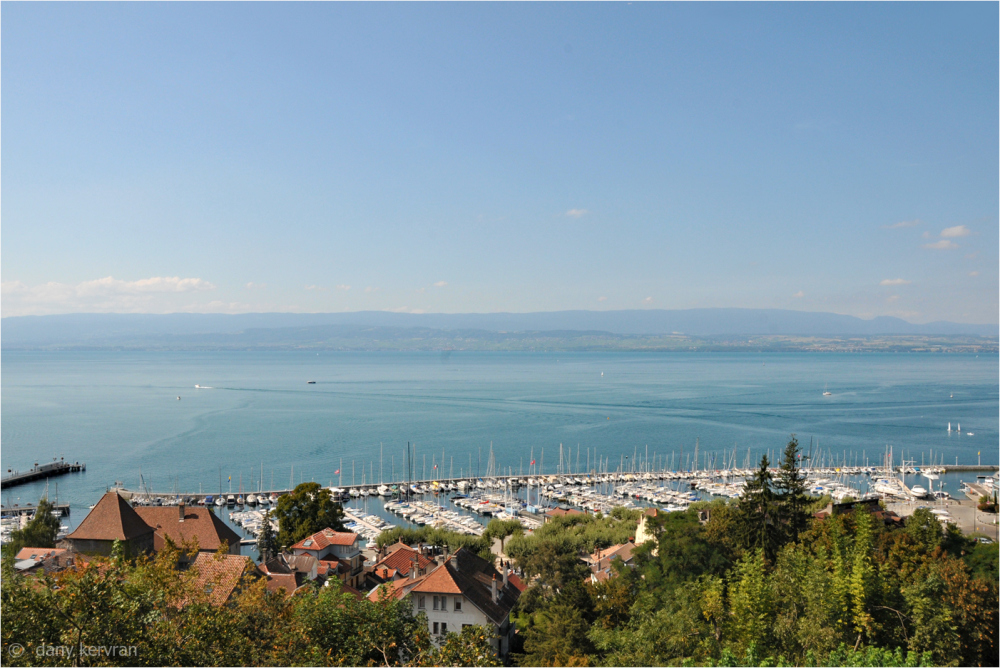 Lake Geneva and Switzerland viewed from Thonon