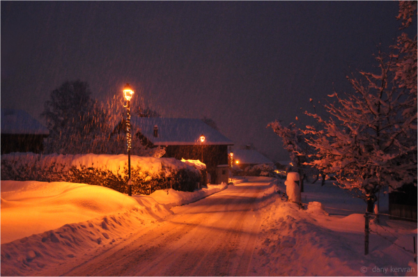 a road in Morillon as it snows
