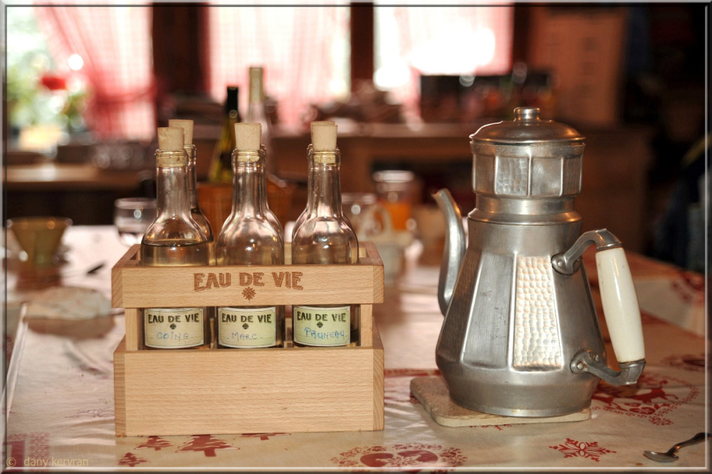 small bottles of brandy in a restaurant