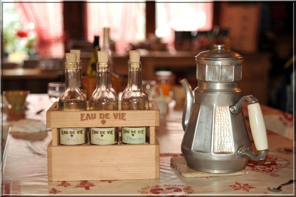 small bottles of brandy in a restaurant