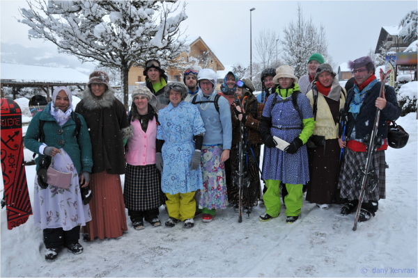 group of skiers dressed up