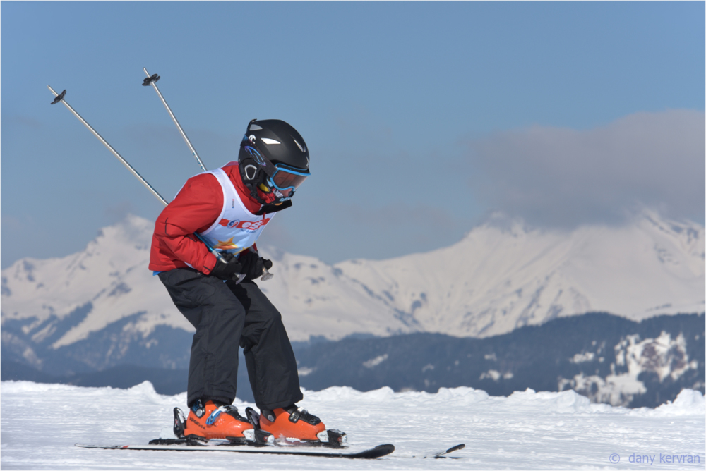 a child skiing