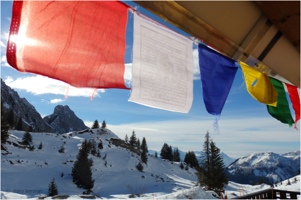 mountain in winter and flags