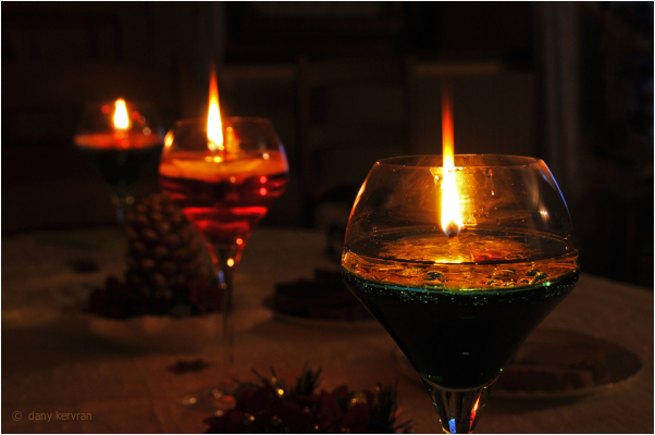 candles in glasses
