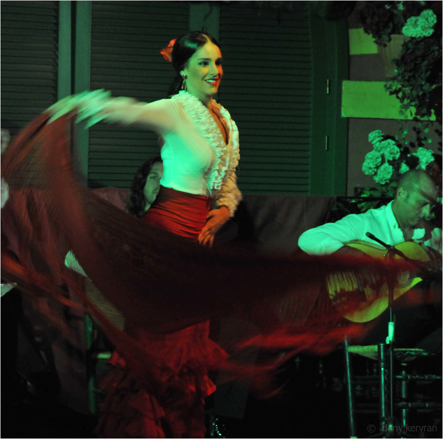 a flamenco dancer in a cabaret