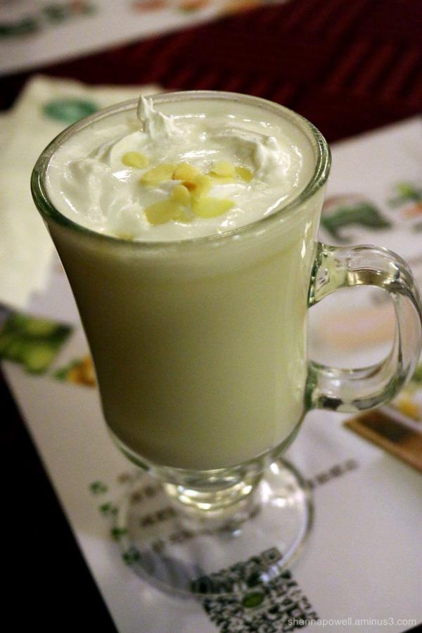 Hot almond milk in a glass