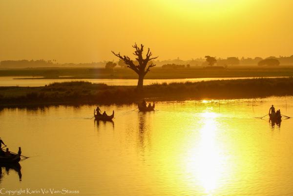 Mandalay, Myanmar, Sunset, Ubein bridge
