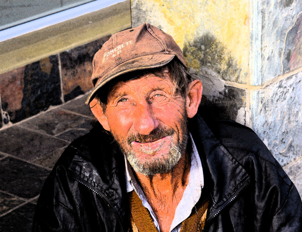 Street portrait of Hobo in Jeffreys Bay