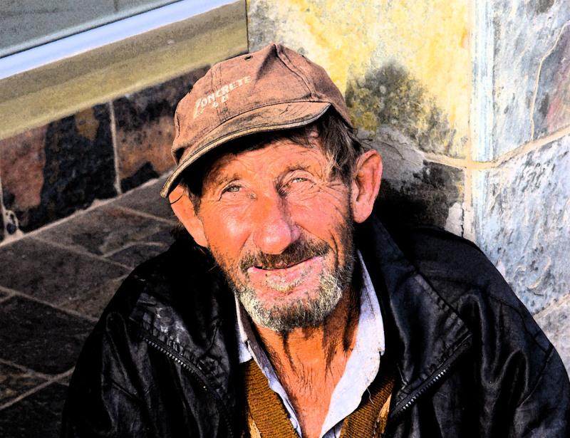 Street portrait of Hobo in Jeffreys Bay