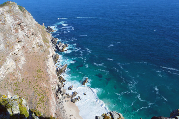 ocean view from cliffs at cape point