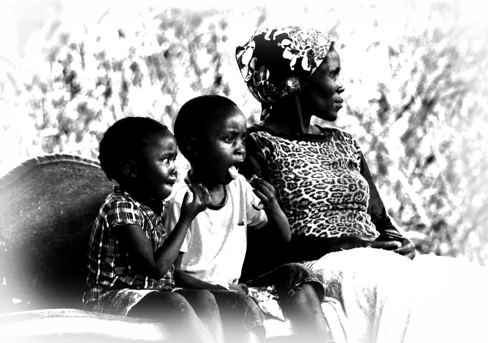 Family at roadside, port st johns, wild coast