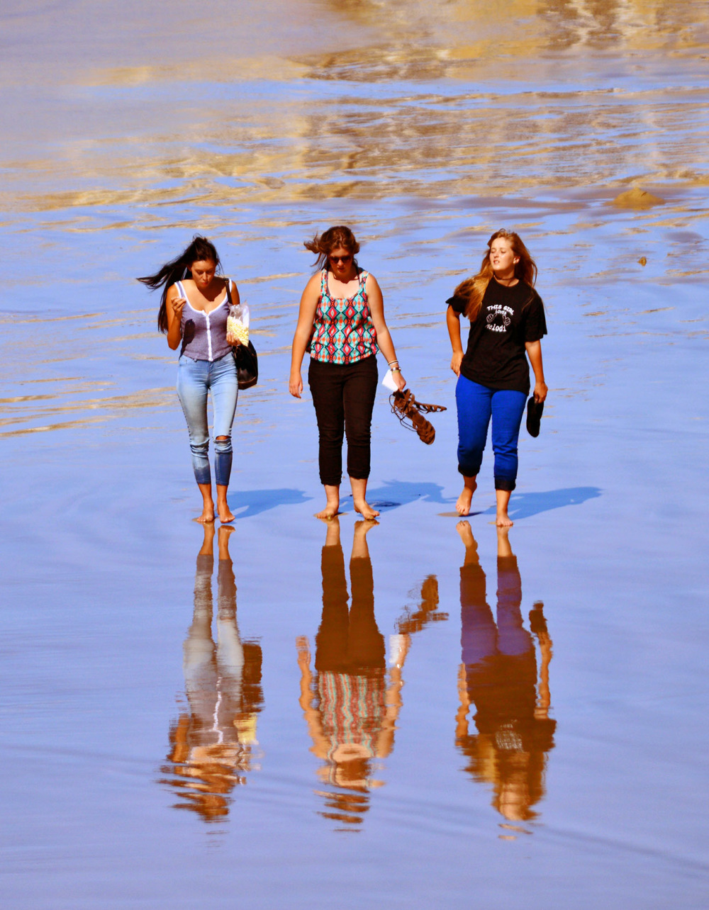 Girls reflection on water, Kings Beach