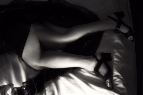 Boudoir shots - legs and feet black and white