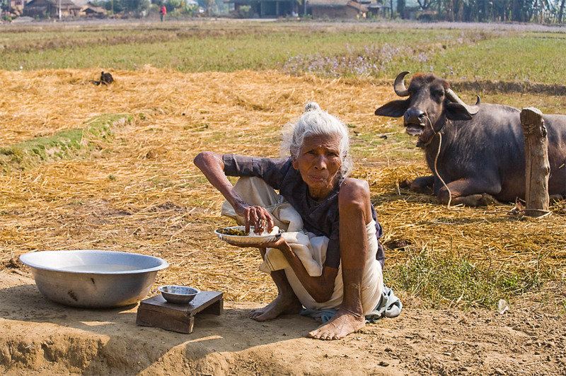 Woman take a lunch in Sauraha-Nepal