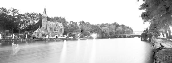 Brugge, Belgium castle at dawn
