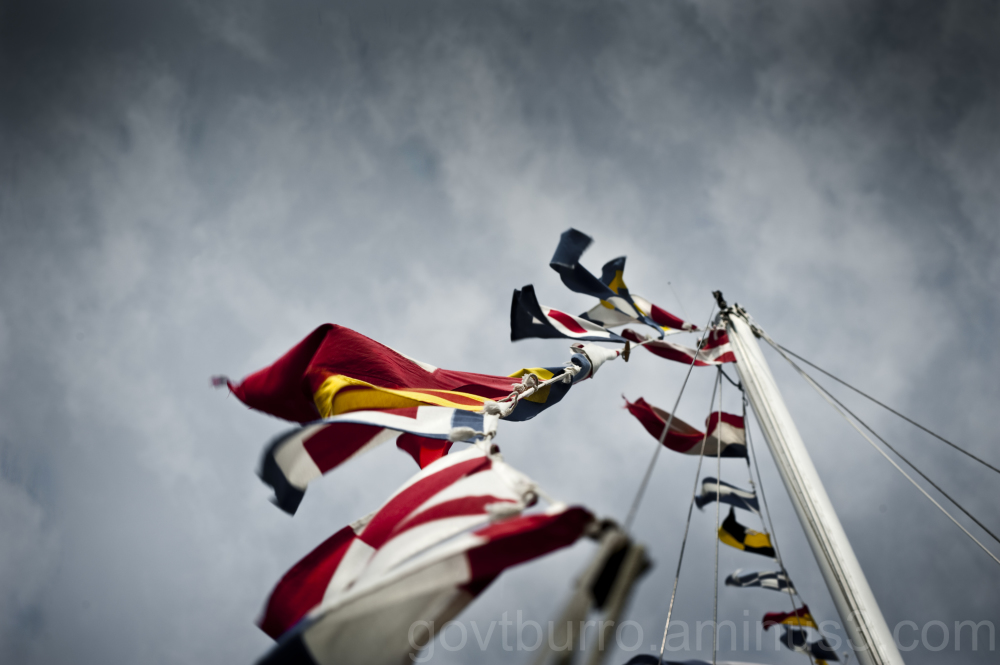 Signal flags on a mast in Ostend, Belgium