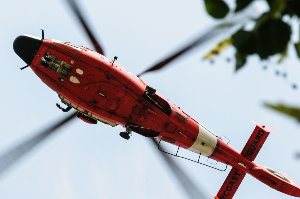 Coast Guard helicopter in Grand Haven, MI