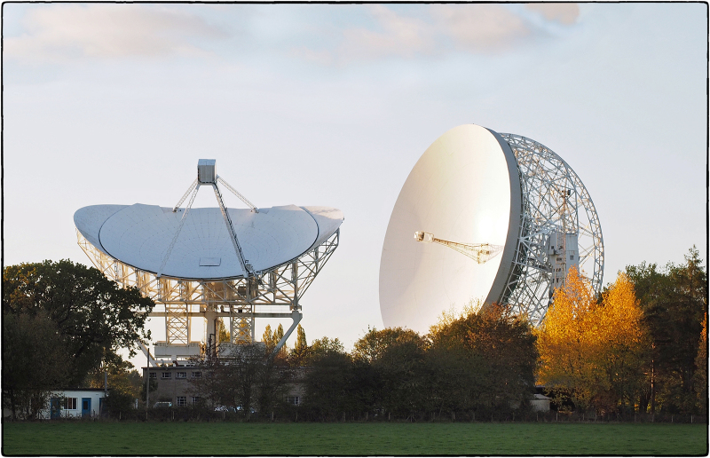 Jodrell Bank Telescope in Late Autumn Sun