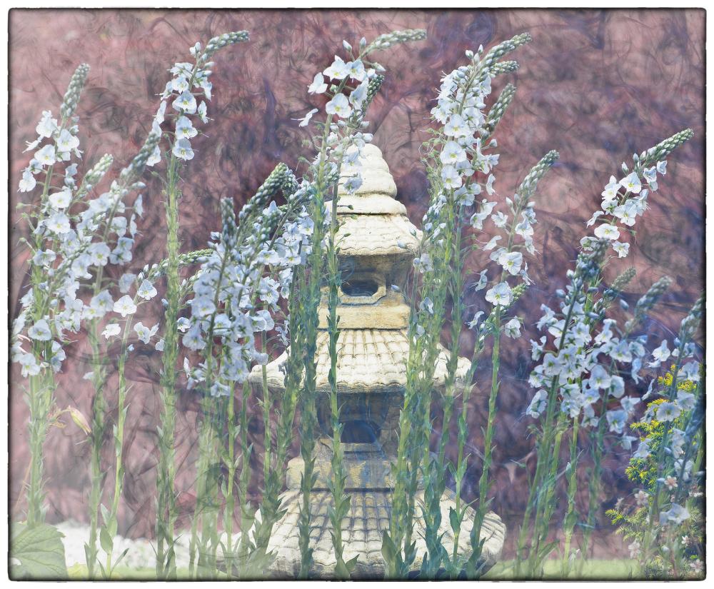 Pagoda and Flowers
