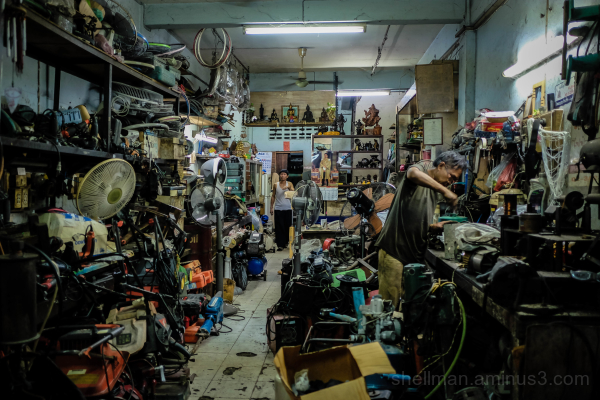 The riot of clutter of a typical BKK workshop