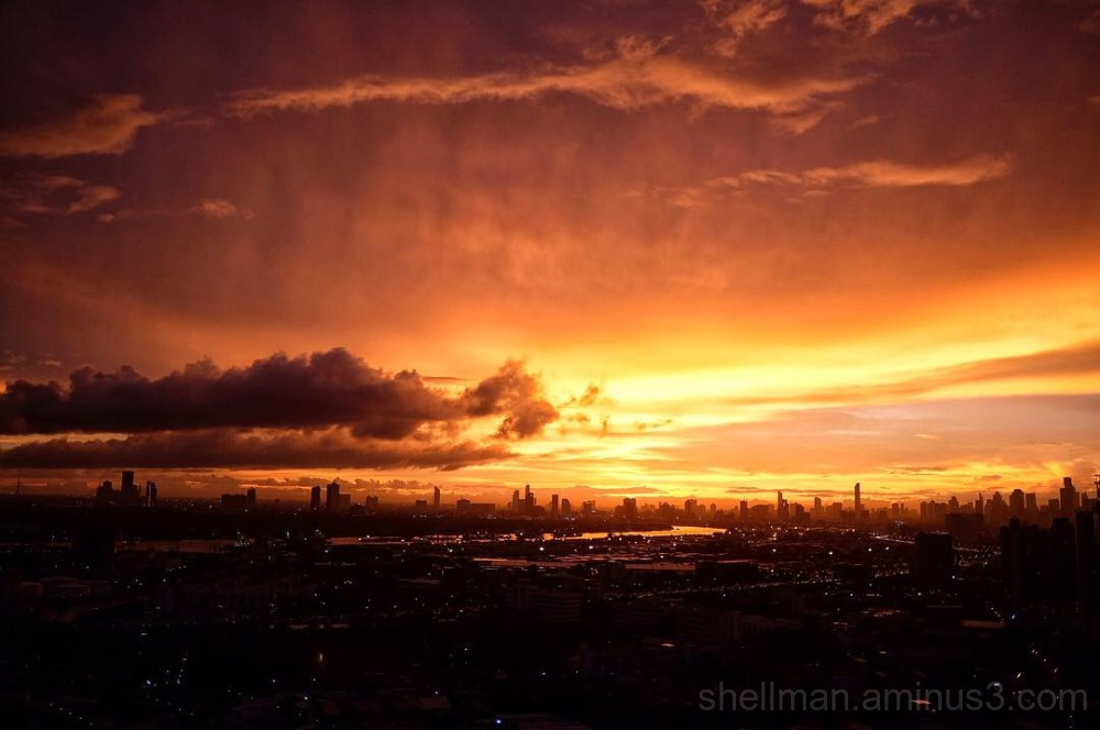 Burning Sunset over Bangkok
