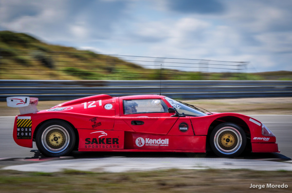 Red racing car in Zandvoort, Holland